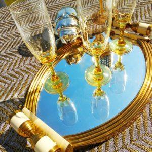 Flutes à champagne piètement verre soufflé jaune - Lot de 3