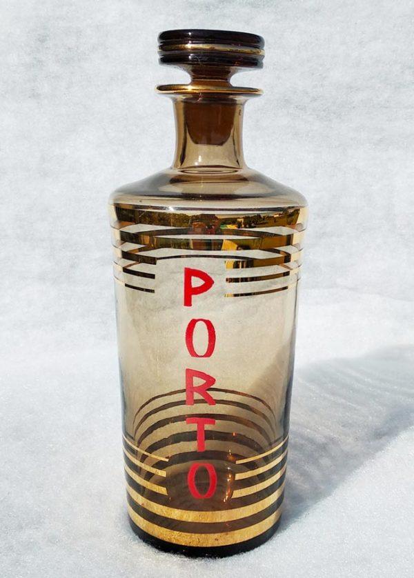 Carafe à porto en verre ambré