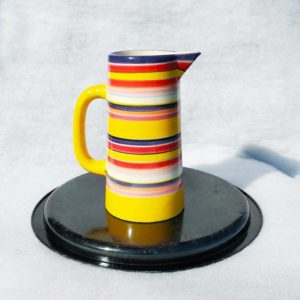 Carafe vintage colorée grès émaillé façon bayadère