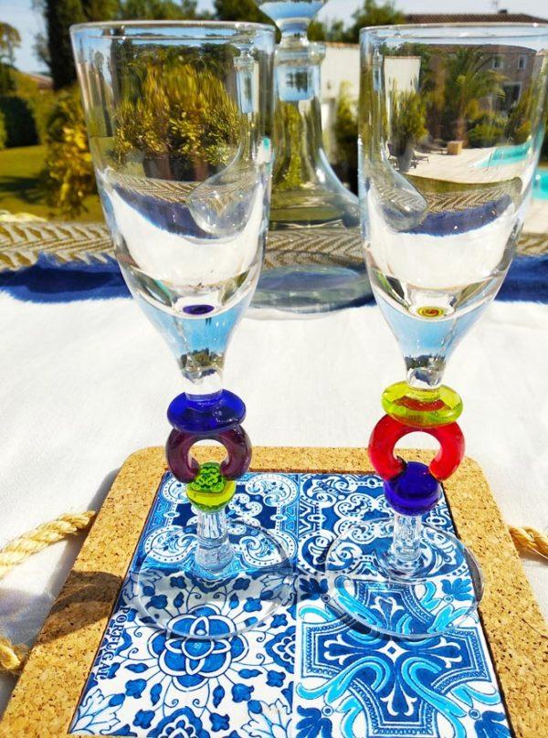 Verre apéritif piètement verre de Murano - Lot de 2