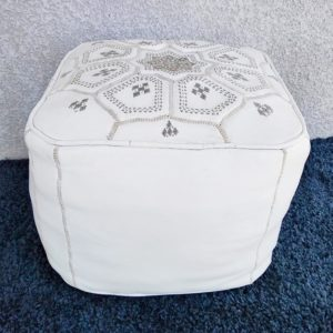 Pouf cuir blanc marocain