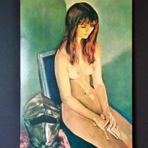 jeune fille nue affiche collée sur support bois