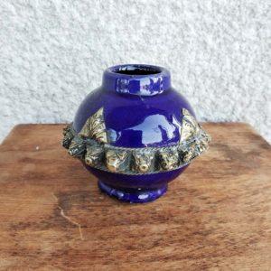 petit pot marocain vernissé bleu