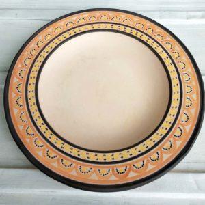 plat creux poterie d'art du Val de Loire, pièce unique de 1977 - Michel Clément