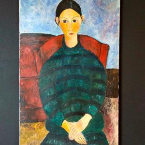 Fillette au tablier noir, reproduction de Modigliani